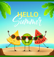 funny summer banner with cute fruit characters vector image