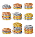 gold silver bronze copper coins stacks vector image vector image