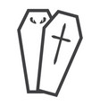 halloween coffin line icon halloween and scary vector image vector image