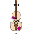 hand-drawn cello with purple peonies vector image vector image