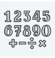 hand-drawn numbers set vector image vector image