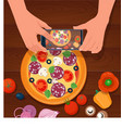 hands take food photo mobile phone vector image vector image