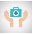 hands with kit first aid emergency icon vector image vector image
