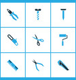 handtools icons colored set with roller brush vector image vector image
