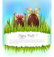 happy easter background with chocolate eggs with vector image vector image