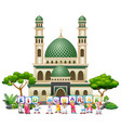 happy islamic kids cartoon holding letters and wis vector image vector image