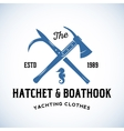 Hatchet and Boathook Yachting Clothes Manufacture vector image vector image