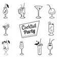 icons cocktails cartoon styledrinks menu cafes vector image