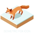 Isometric fox icon on a square ground vector image