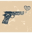 Love gun Vintage emblem with gun shooting with vector image vector image