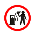 man shouting and pointing a fuel pump vector image vector image