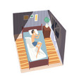 man sleeping on his side in his bed at night view vector image vector image