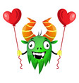monster with heart balloons on white background vector image