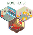 movie theater in isometric style design vector image