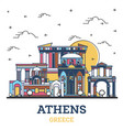 outline athens greece city skyline with colored
