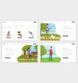 pet shelter landing page templates set make new vector image vector image