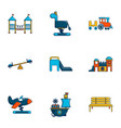 playground icons set flat style vector image vector image