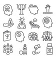 psychology line icons set on white background vector image vector image