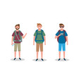 set men with camera and backpack with vector image vector image