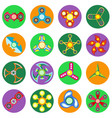 set of 16 spinners of different shapes vector image vector image