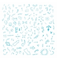 Set of blue hand drawn arrows vector image