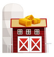 silo and red barn with hay on the roof vector image vector image