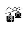 ski resort black icon sign on isolated vector image
