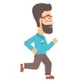Smiling businessman running vector image