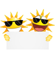 Smiling sun Emoticon holding a Blank sign vector image