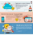 Three banners data protection vector image vector image