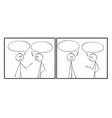 two cartoon frames two man speaking with empty vector image