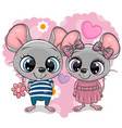 two cartoon mouses on a heart background vector image vector image