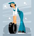 woman car mechanic vector image