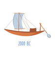 wooden ship with sails and oar vintage boat vector image vector image