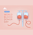 world blood donor day 3d web vector image vector image
