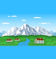 mountain village landscape vector image