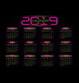 2019 calendar pink green number text on black vector image vector image