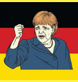angela merkel on german flag vector image