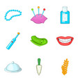 care of teeth icons set cartoon style vector image vector image