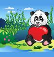 cartoon panda holding heart outdoor vector image