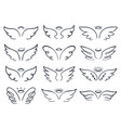 cartoon sketch wing hand drawn angels wings vector image