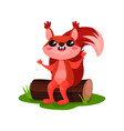 cheerful red squirrel sitting on tree log forest vector image