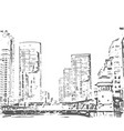 city buildings hand drawn town vector image