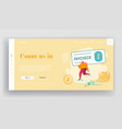 company banking cheque website landing page girl vector image