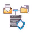 database server transfer folder email message vector image vector image