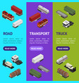 different types trailers 3d banner vecrtical set vector image vector image