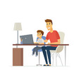 father and son at the laptop - cartoon people vector image vector image