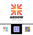four arrows logo form cross or plus graphic vector image vector image