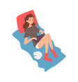 girl lying on bed with laptop young woman working vector image vector image