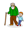 Grandfather with grandson Funny old man vector image vector image
